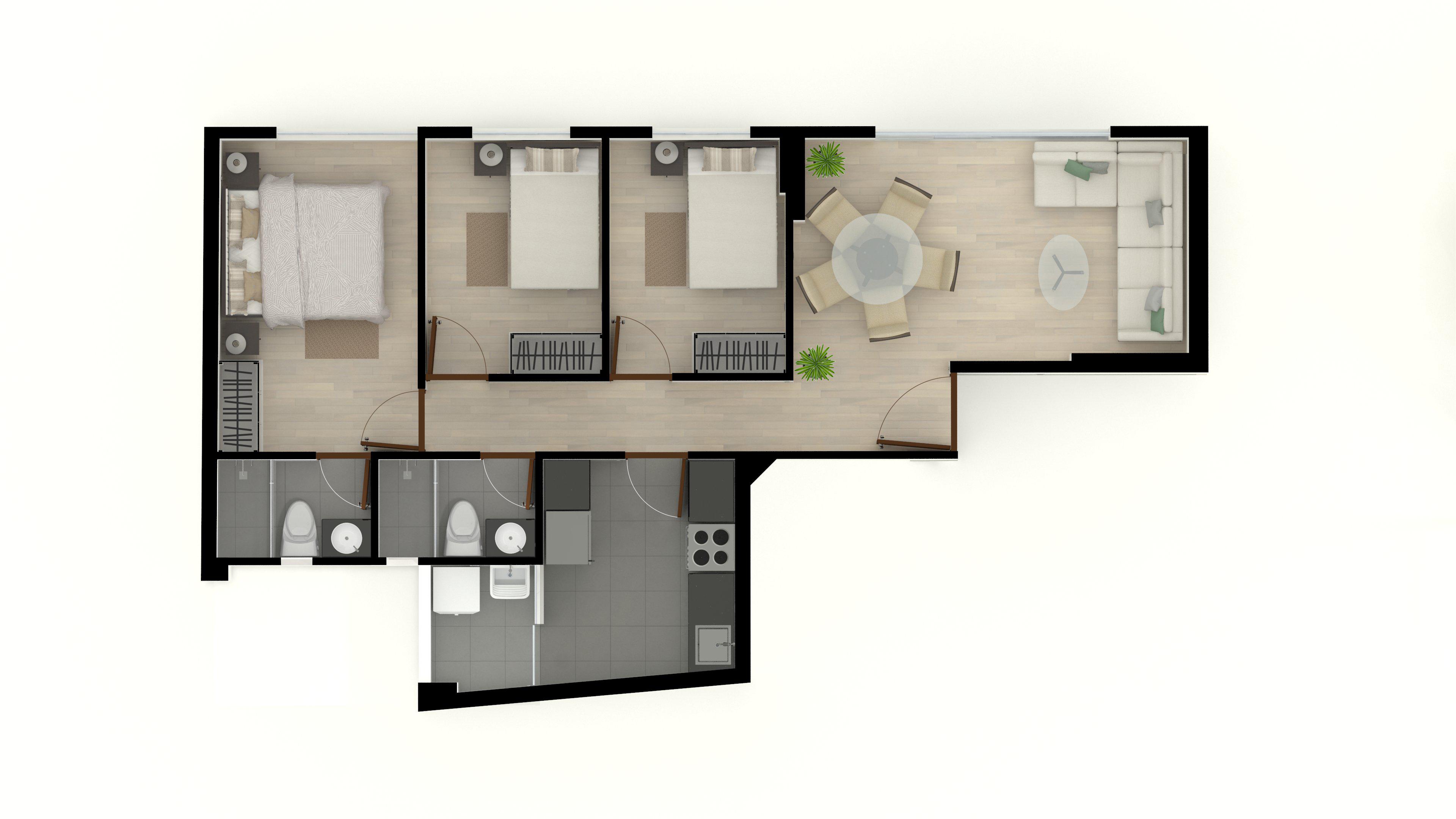 2. Flat Derecha 70m2 3er y 4to piso