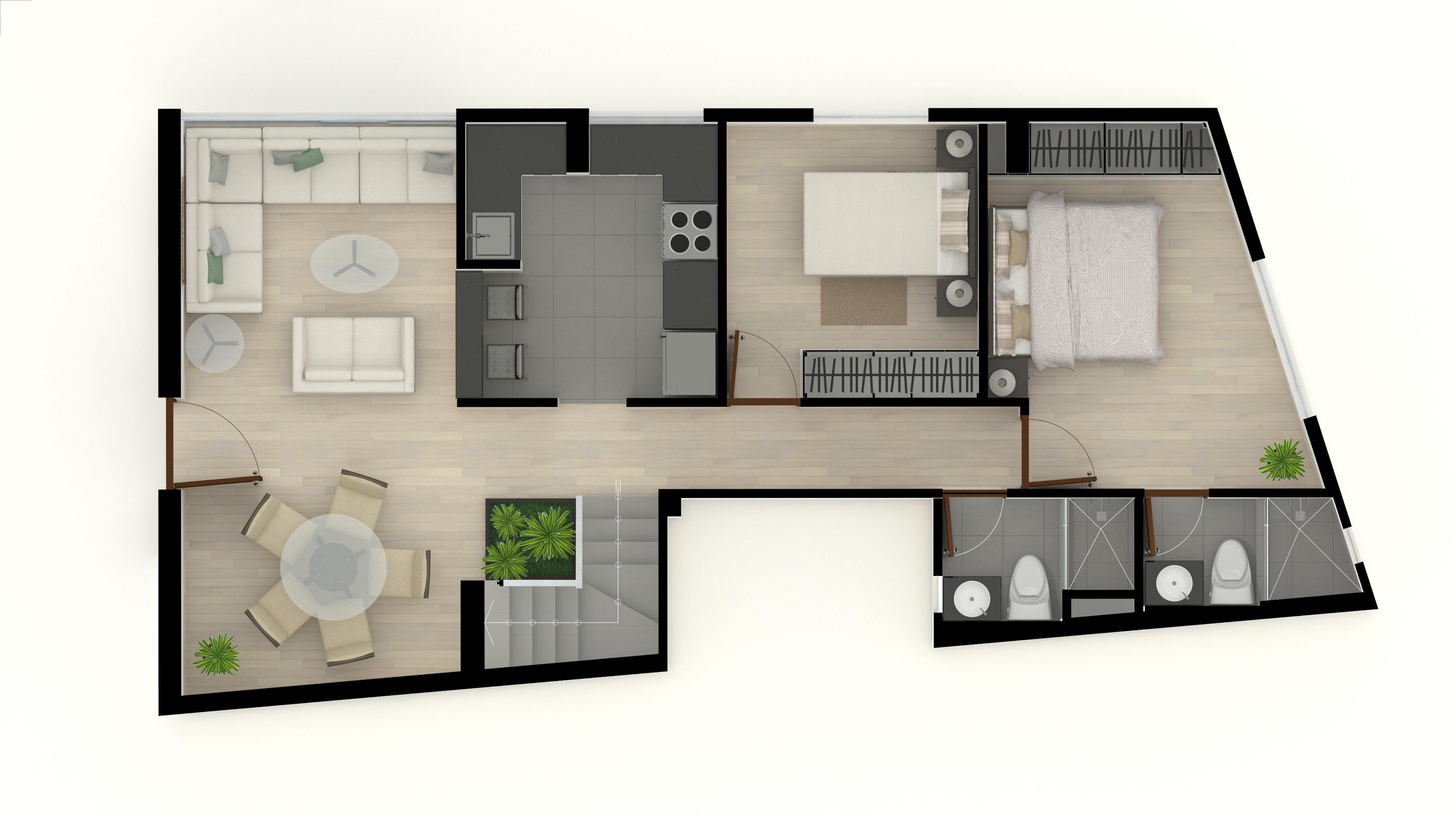 4. Duplex 501 5to piso 70m2 (Primer Nivel)