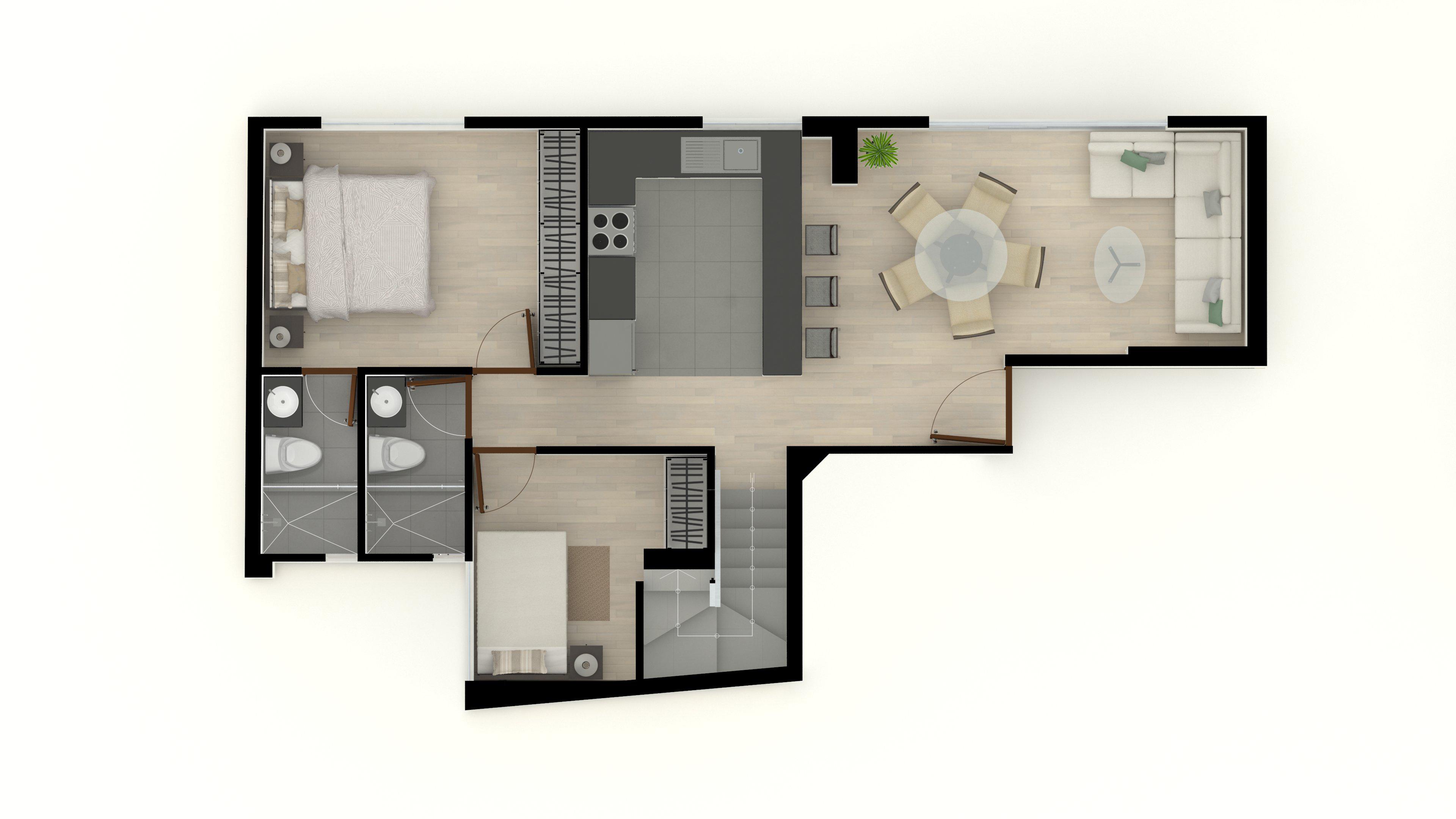 6. Duplex 502 5to piso 68m2 (Primer Nivel)